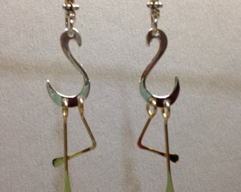 Flamingo earrings sterling silver and 14k goldfilled