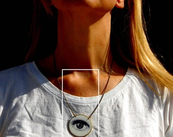 Eye Necklace, Modern Necklace, Illustrated Jewelry, Black&White Jewelry, Plastic Jewelry, Unique Necklace, Big eye, Stylish Necklace
