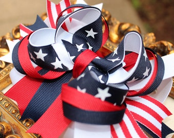 Patriotic Hair Bow- Red, White and Blue hair bow, Fourth of July bow, Toddler Bow, Girls hair bows, Hair clips