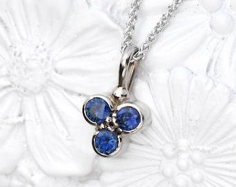 Blue Sapphire Pendant in Ethical 18k Gold, Trefoil Design, Sapphire Cluster Pendant