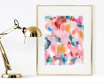 Abstract painting instant download print, pink, red, green abstract painting printable painting, pink wall art, printable pink wall art