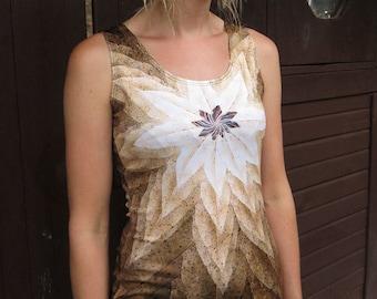GUM STAR Bodycon Dress,fractal mini dress, trippy mini dress, psychedelic dress, mandala dress, festival dress, leaf print, gum leaf