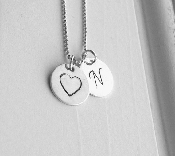 Letter N Initial Necklace Initial Heart Necklace Sterling