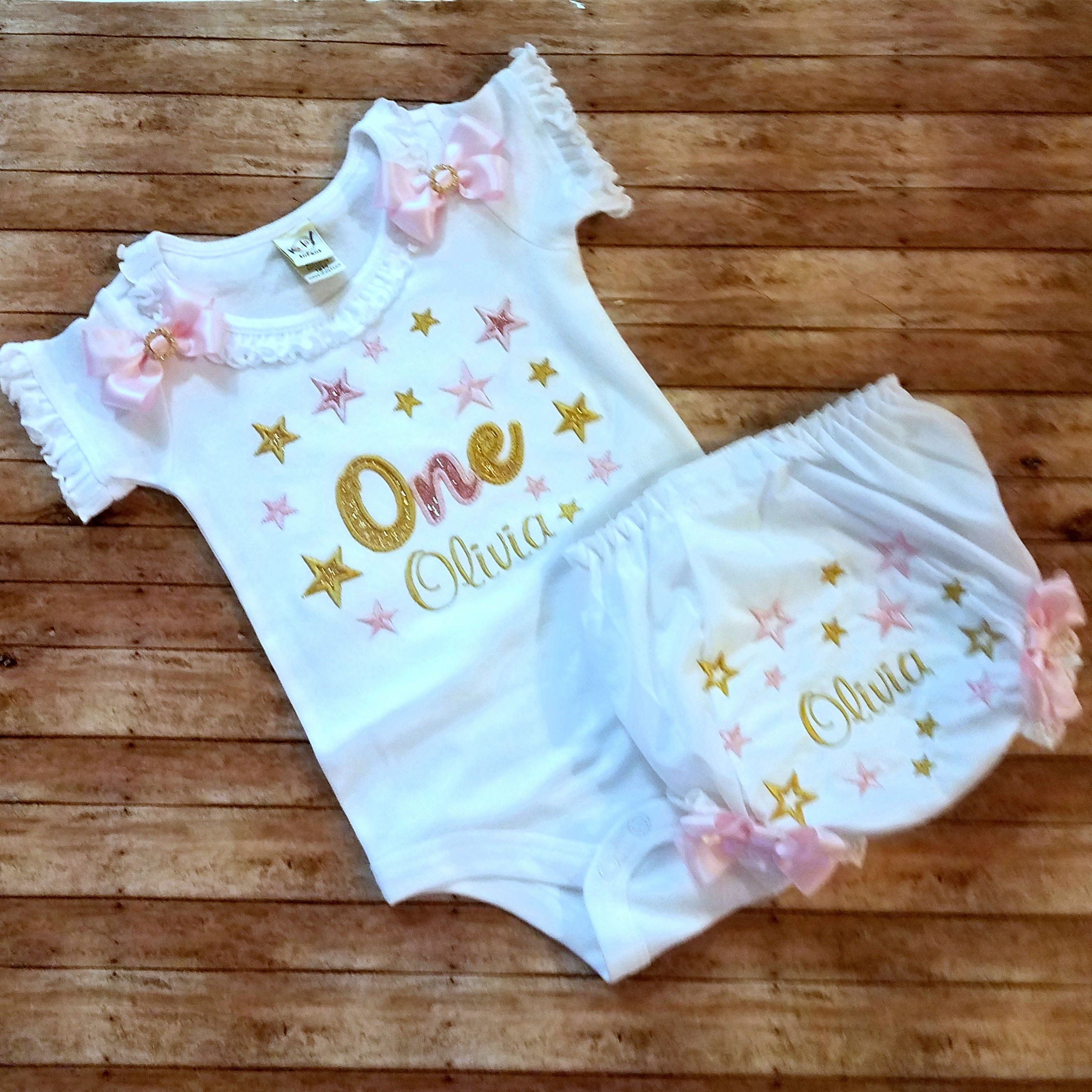 Pink And Gold Birthday Outfit 1st Girl Cake Smash