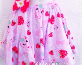 Strawbeary Bear Skirt, Sweets skirt, strawberry skirt