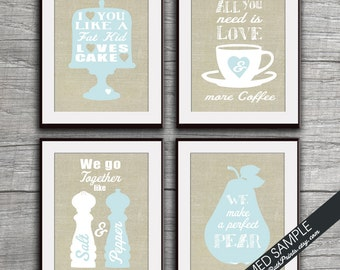Kitchen Quote Love Prints - Set of 4 - Art Prints (Featured on Pale Glacier on Linen) Funny Kitchen Quotes