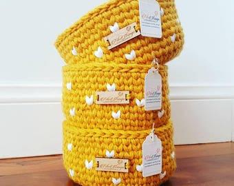 Handmade Crochet Hearts Yarn Bowl   Storage Bowl   Yarn Basket   Mustard Basket   Grey Basket