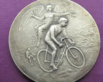 Antique French Angel Of Victory Cyclist 950 Sterling Silver Art Nouveau Medal By Felix Rasumny