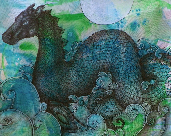 Loch Ness Monster / Sea Dragon / Sea Monster Fantasy Art Print by Lynnette Shelley