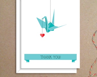 Origami Crane Note Cards - Baby Shower Thank You Notes - Wedding Thank You Notes - Bridal Shower Notes - Illustrated Note Cards