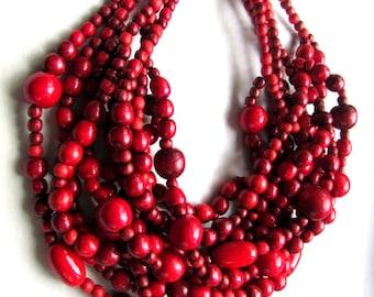 Wooden bead necklace Bib necklace Ukrainian jewelry Ukrainian style Gift from Ukraine