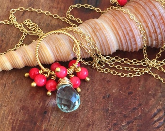 Long Boho Coral Necklace Bamboo Coral Crystal Beads Boho Necklace Beach Jewelry Gift for Her