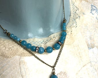 Blue semi chalcedoon vintage style necklace stone beads necklace vintage style necklace