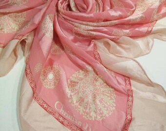 Authentic Christian Dior Vintage Scarf, size 32 x 32 inch, Look elegance, good condition to useful Free Shipping