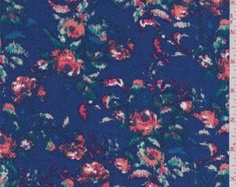 Sapphire Multi Floral Herringbone Rayon Challis, Fabric By The Yard