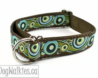 "Pistachio and Chocolate Swirls Dog Collar / 1"" (25mm)Wide / Choice of collar style and size - Martingale Dog Collars or Quick Release Buckle"