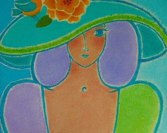 "A Original Acrylic on Canvas - ""Aqua Garden Muse"""