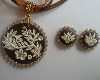 Polymer Clay Floral Filigree/Embroidery/Applique Pendant with Earrings