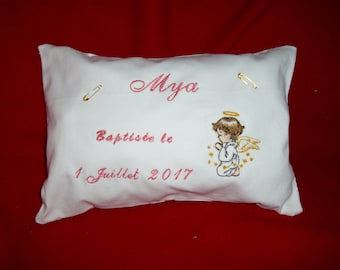Rectangular pillow is curb chain, jewelry, for baptism, Made in France