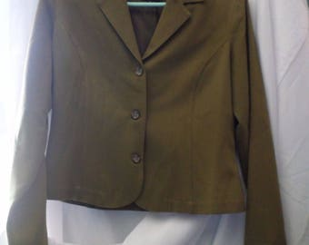 Women's L. Bates Collection Olive Green Three Button Jacket Size S Read Descrip.