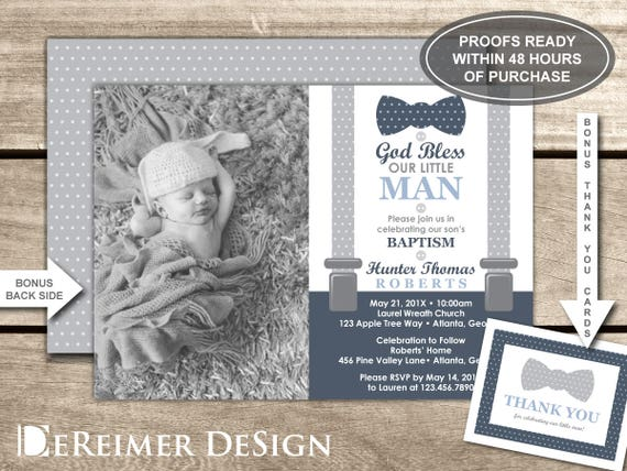 Baptism Invitation Photo Invite Little Man Baby Boy Navy