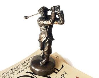 Antique Bronzed Golfer Figurine - 1920s Electroplate Statue - Golfing Memorabilia - Collectible Golf Art-  Harry Varden