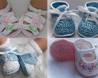 Cheryl's Crochet CC65 Baby Assorted Grace Booties PDF Download Crochet Pattern