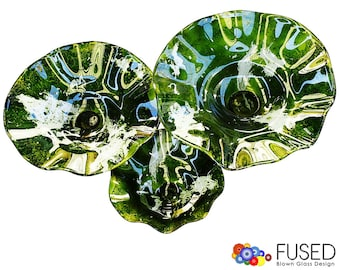 Blown Glass Wall Art 3 Pcs Set