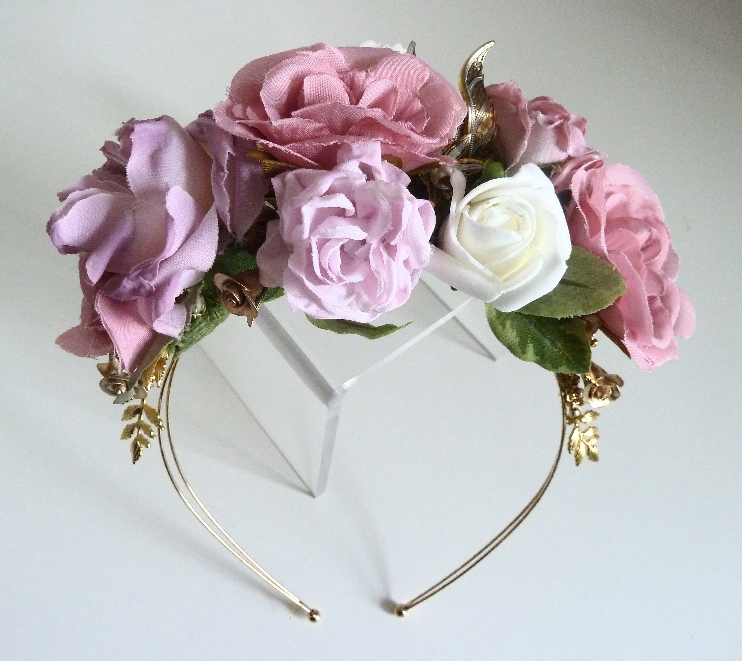 Dusky Pink Ivory And Gold Tiara Flower Crown Soft Pink