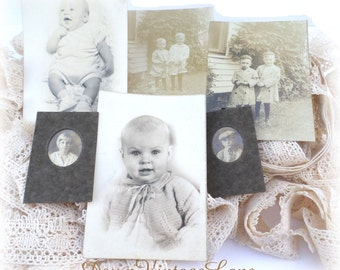 6 Vintage Baby Pictures Portraits Vintage Lot of Baby and Children Pictures
