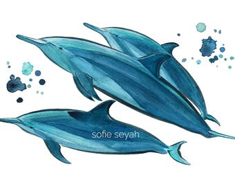 Spinner Dolphins - Sofie Seyah Illustration - Watercolour and Ink - Greeting Card