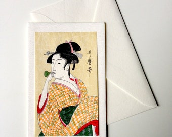 Card and envelope, pattern Japanese traditional UKIYOE UTAMARO BIJINNGA (F1323)