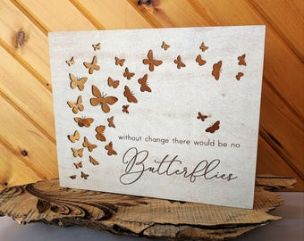 Butterflies Wood Canvas, Wall Art, Home Decor, Wall Gallery Collage, Life Saying, Inspirational Quote, Wall Decor, Girls Bedroom Sign