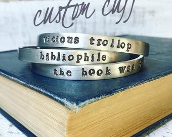 Custom hand stamped cuff bracelet. Personalize your cuff bracelet with a word, verse, or quote.