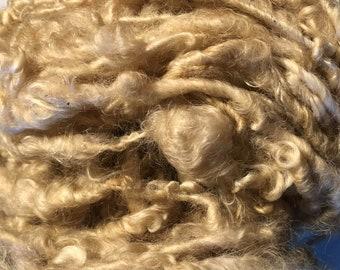Beige Handspun English Leicester Curls  Chunky Yarn 50 Metres