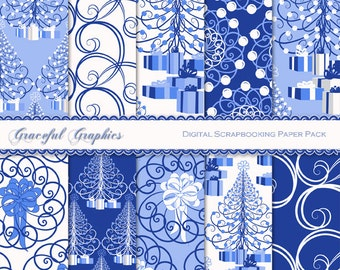Scrapbook Paper Pack Digital Scrapbooking Background Papers Pack CHRISTMAS Swirl TREE Blue Navy White 10 8.5 x 11 1259gg