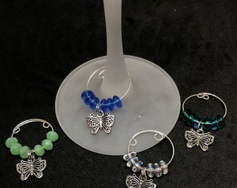 Butterfly Wine Charms, glass beads