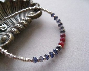 Chakra bracelet, Silver bracelet, ruby bracelet, iolite bracelet, dainty bracelet, ethnic bracelet, gift for her,