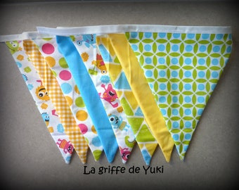Bunting in shades of yellow and blue monsters