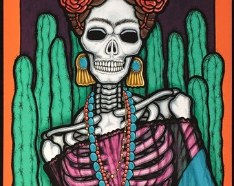 "16x20 Day of the Dead Giclee print, ""Frida y Nopalitos"""