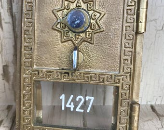 Vintage Post Office Box Door  with Lock 1961 Grecian Design Comnbination Included Mailbox Door 1427