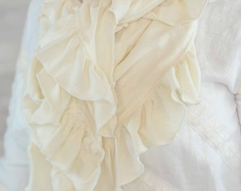Scarf for woman, large scarf women scarf with Ruffles, natural linen checkered beige pattern.