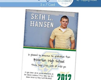 5x7 Graduation Announcement (Seth) Photoshop Template for Photographers