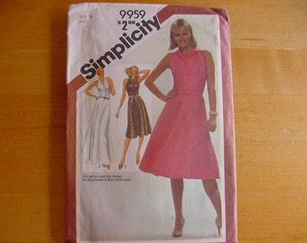 Vintage 1980s Simplicity Pattern 9959, Misses Pullover Dress, Short or Long, Misses Size 10, Bust 32 1/2, UNCUT