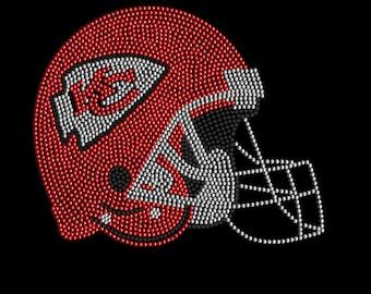 Kansas City Chiefs Helmet Mega-Rhinestone T-Shirt