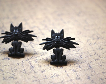 Black Cat Earrings -- Black Cat Studs, Halloween Earrings, Black Cats