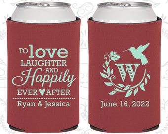 Love Laughter Happily Ever After, Wedding Keepsake, Monogram Wedding, Floral Wedding, Monogrammed Gift, Wedding Can Coolers (445)