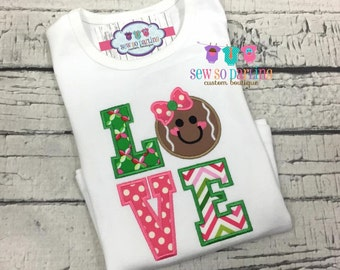 Baby Girl Christmas Outfit - Baby Christmas Outfit - Gingerbread Shirt - pink and green christmas shirt - Girl christmas clothes - xmas