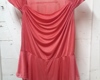 Vintage John Kloss for Cira Small Pink Romper 100% Polyester Short and short sleeve one piece romper