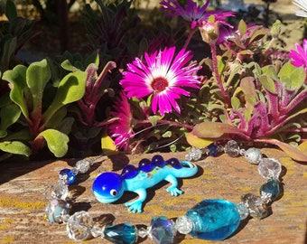 Blue lampwork gecko suncatcher